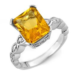 4.25 CTW Citrine & Diamond Ring 10K White Gold - REF-33X3T - 10851
