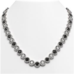 35.55 CTW Black & White Diamond Designer Necklace 18K White Gold - REF-3583W3F - 42695