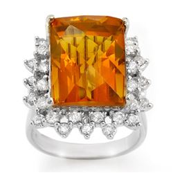 17.15 CTW Citrine & Diamond Ring 10K White Gold - REF-103T5M - 10681