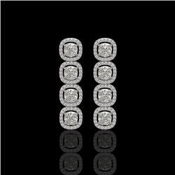 5.28 CTW Cushion Diamond Designer Earrings 18K White Gold - REF-981N6Y - 42629
