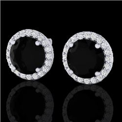 4 CTW Halo Black VS/SI Diamond Micro Pave Earrings 18K White Gold - REF-122Y5K - 21480