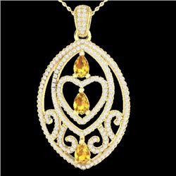 3.50 CTW Yellow Sapphire & Micro VS/SI Diamond Heart Necklace 18K Yellow Gold - REF-218M2H - 21301