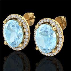 5 CTW Aquamarine & Micro Pave VS/SI Diamond Earrings Halo 18K Yellow Gold - REF-102H8A - 21046