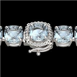 35 CTW Sky Blue Topaz & Micro VS/SI Diamond Halo Bracelet 14K White Gold - REF-139T6M - 23327