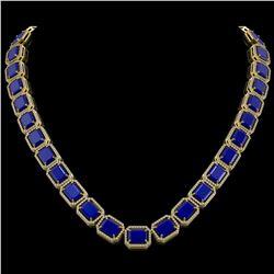84.94 CTW Sapphire & Diamond Halo Necklace 10K Yellow Gold - REF-859H5A - 41482