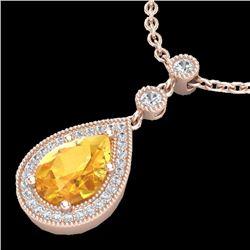 2.25 CTW Citrine & Micro Pave VS/SI Diamond Necklace 14K Rose Gold - REF-38X8T - 23131