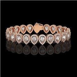 15.85 CTW Pear Diamond Designer Bracelet 18K Rose Gold - REF-2890H8A - 42771
