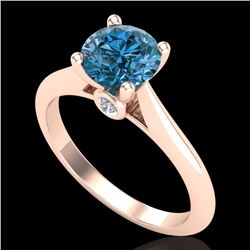 1.36 CTW Fancy Intense Blue Diamond Solitaire Art Deco Ring 18K Rose Gold - REF-227T3M - 38210