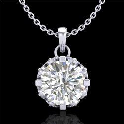 1.14 CTW VS/SI Diamond Solitaire Art Deco Stud Necklace 18K White Gold - REF-205K5W - 36842