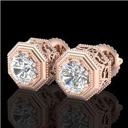 1.07 CTW VS/SI Diamond Solitaire Art Deco Stud Earrings 18K Rose Gold - REF-190K9W - 37095