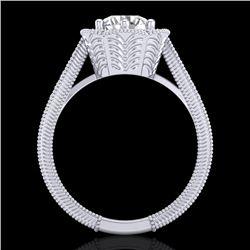1.33 CTW VS/SI Diamond Solitaire Art Deco Ring 18K White Gold - REF-418F2N - 37103