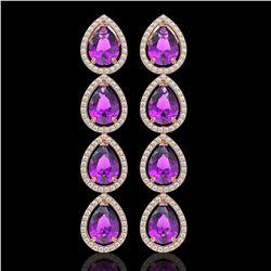 10.85 CTW Amethyst & Diamond Halo Earrings 10K Rose Gold - REF-154Y2K - 41322
