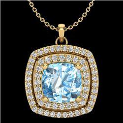2.08 CTW Sky Blue Topaz & Micro Pave VS/SI Diamond Halo Necklace 18K Yellow Gold - REF-63Y3K - 20450