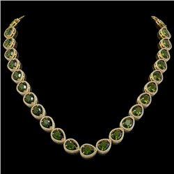 41.6 CTW Tourmaline & Diamond Halo Necklace 10K Yellow Gold - REF-768F4N - 41209