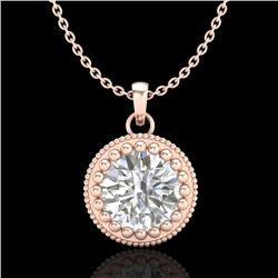 1 CTW VS/SI Diamond Solitaire Art Deco Necklace 18K Rose Gold - REF-292H5A - 36891