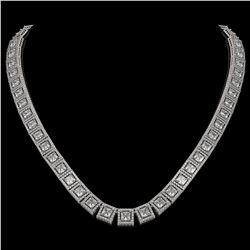 36.30 CTW Princess Diamond Designer Necklace 18K White Gold - REF-6619H3A - 42632