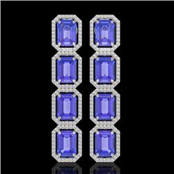 19.39 CTW Tanzanite & Diamond Halo Earrings 10K White Gold - REF-418N5Y - 41579