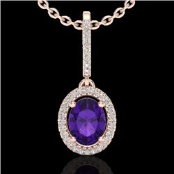 1.75 CTW Amethyst & Micro Pave VS/SI Diamond Necklace Halo 14K Rose Gold - REF-53N3Y - 20646