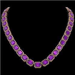 76.69 CTW Amethyst & Diamond Halo Necklace 10K Rose Gold - REF-711M3H - 41514