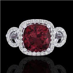 3.75 CTW Garnet & Micro VS/SI Diamond Ring 18K White Gold - REF-65X3T - 23003