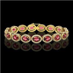 21.71 CTW Tourmaline & Diamond Halo Bracelet 10K Yellow Gold - REF-338N9Y - 40621
