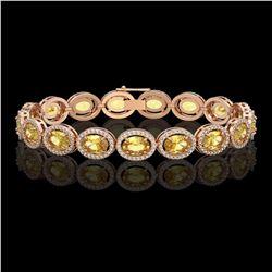 20.36 CTW Fancy Citrine & Diamond Halo Bracelet 10K Rose Gold - REF-246Y8K - 40644