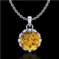 1.14 CTW Intense Fancy Yellow Diamond Art Deco Stud Necklace 18K White Gold - REF-121K8W - 37378