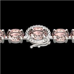 18.25 CTW Morganite & VS/SI Diamond Eternity Micro Halo Bracelet 14K White Gold - REF-227H3A - 40237