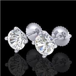 2 CTW VS/SI Diamond Solitaire Art Deco Stud Earrings 18K White Gold - REF-591M2H - 37304
