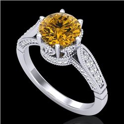 2.2 CTW Intense Fancy Yellow Diamond Engagement Art Deco Ring 18K White Gold - REF-336W4F - 38092