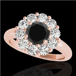 2.85 CTW Certified VS Black Diamond Solitaire Halo Ring 10K Rose Gold - REF-140T9M - 34436