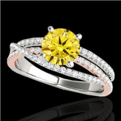 1.4 CTW Certified Si Fancy Yellow Diamond Solitaire Ring 10K White & Rose Gold - REF-218H2A - 35546