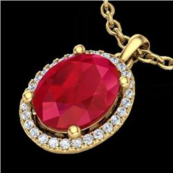 3 CTW Ruby & Micro Pave VS/SI Diamond Necklace Halo 18K Yellow Gold - REF-59Y3K - 21088