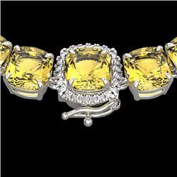 87 CTW Citrine & VS/SI Diamond Halo Micro Pave Necklace 14K White Gold - REF-335Y6K - 23339
