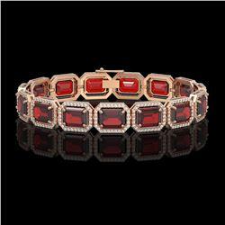 33.41 CTW Garnet & Diamond Halo Bracelet 10K Rose Gold - REF-318T2M - 41568