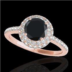 1.6 CTW Certified VS Black Diamond Solitaire Halo Ring 10K Rose Gold - REF-75M3H - 33674