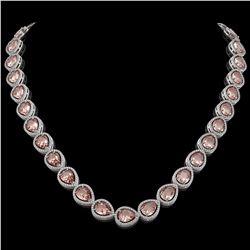 41.6 CTW Morganite & Diamond Halo Necklace 10K White Gold - REF-1024X4T - 41198