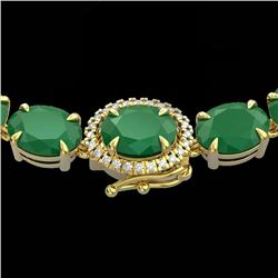 92 CTW Emerald & VS/SI Diamond Tennis Micro Pave Halo Necklace 14K Yellow Gold - REF-270T2M - 23459