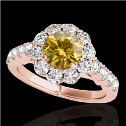 2.35 CTW Certified Si/I Fancy Intense Yellow Diamond Solitaire Halo Ring 10K Rose Gold - REF-218F2N
