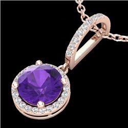 2 CTW Amethyst & Micro Pave VS/SI Diamond Necklace Designer Halo 14K Rose Gold - REF-44A8X - 23190