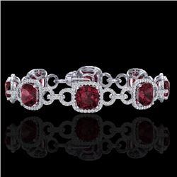 30 CTW Garnet & Micro VS/SI Diamond Bracelet 14K White Gold - REF-368H9A - 23023
