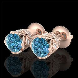 1.85 CTW Fancy Intense Blue Diamond Art Deco Stud Earrings 18K Rose Gold - REF-172M8H - 37412