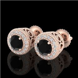 1.55 CTW Fancy Black Diamond Solitaire Art Deco Stud Earrings 18K Rose Gold - REF-103K6W - 37654