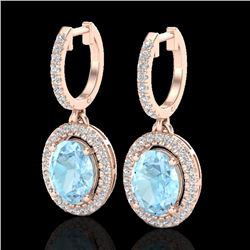 3.25 CTW Aquamarine & Micro Pave VS/SI Diamond Earrings Halo 14K Rose Gold - REF-99A6X - 20310