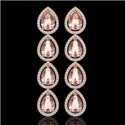 10.4 CTW Morganite & Diamond Halo Earrings 10K Rose Gold - REF-259T3M - 41295