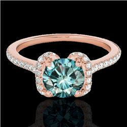 1.33 CTW Si Certified Fancy Blue Diamond Solitaire Halo Ring 10K Rose Gold - REF-163H5A - 33295