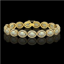 14.24 CTW Opal & Diamond Halo Bracelet 10K Yellow Gold - REF-298N2Y - 40618