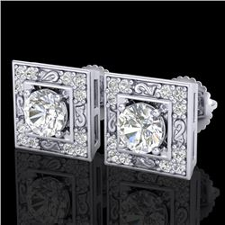1.63 CTW VS/SI Diamond Solitaire Art Deco Stud Earrings 18K White Gold - REF-254K5W - 37268