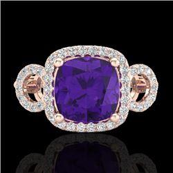 3.75 CTW Amethyst & Micro VS/SI Diamond Ring 14K Rose Gold - REF-54X9T - 22996