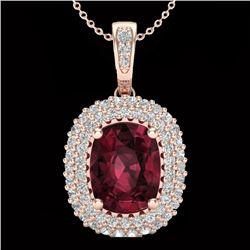 2.60 CTW Garnet & Micro Pave VS/SI Diamond Halo Necklace 10K Rose Gold - REF-65F5N - 20407